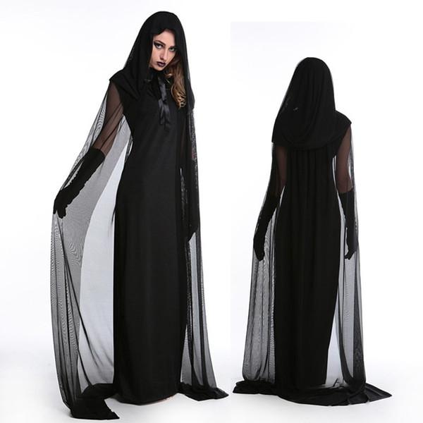 Хэллоуин платье для женщин вампир зомби ходи кружева ужасы Vestido необычные страшные невесты черное платье вверх ведьма косплей костюмы