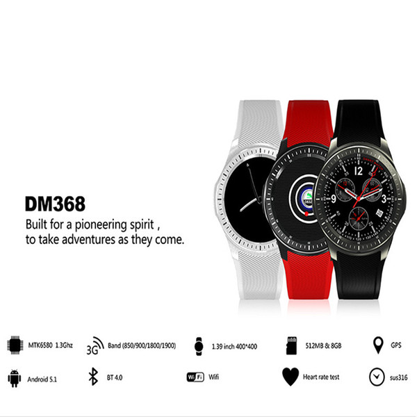 DM368 GPS Smart Watch GSM Phone Android 5.1 8GB Heart Rate Monitor Sport Pedometer 3G WCDMA Wifi Bluetooth OLED Smartwatch Wearable Devices