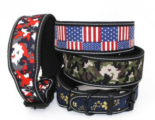 Reflective wrapped foam pet collar, printed light plate dog collar new large cloth dog chain L792