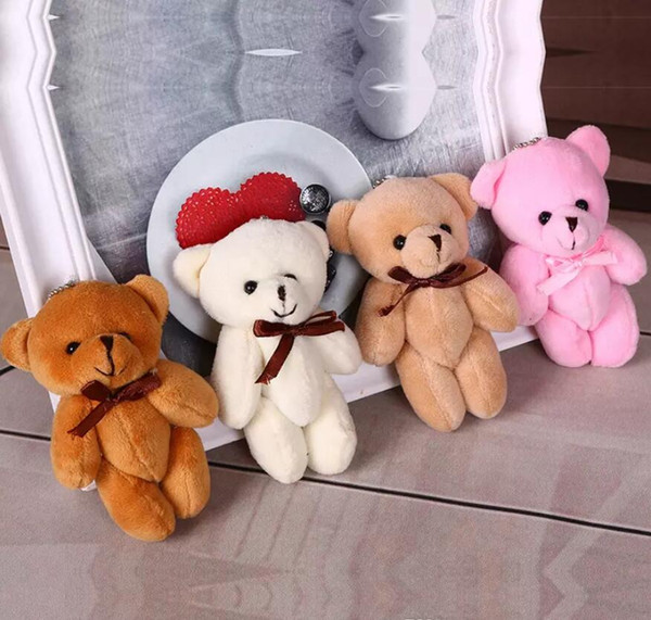 best selling 4 color 11cm Kids Plush Pendant Diy Bow Tie Bear Pendant Lovers Stuffed Animals Figure Birthday Present Plush Dolls Gift Toys