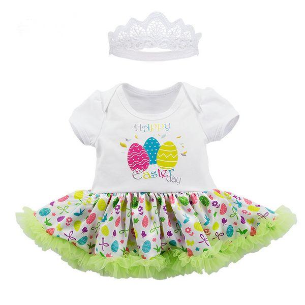2018 Ostern Tages Kleidung Sets Mädchen Mode Baumwolle Spitzenkleid Spielanzug Rüschen Farbige eier Gedruckt Overall + Crown 2 Stücke Sets