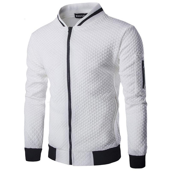 Men Hoodies Casual Hoodies Hip Hop Mens Brand Diamond lattice Leisure Zipper Jacket Hoodie Sweatshirt Slim Fit Men Sportswear