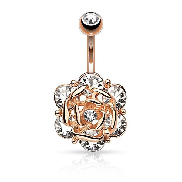 Rose Flower Navel Rings Belly Button Rings Crystal 316L Stainless Steel Piercing Belly Rings Body Jewelry