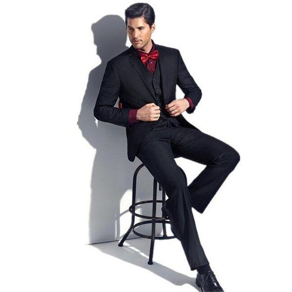 2018 Men Suits Black Business Wedding Suits Bridegroom Groom Custom Slim Fit Formal Tuxedos Best Man Blazer Evening Dress Prom Party 3Piece