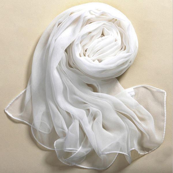Femme foulard en mousseline de soie été plage style fille châle wrap soie pure blanc doux mince foulard oblong châle femelle foulard cachecol
