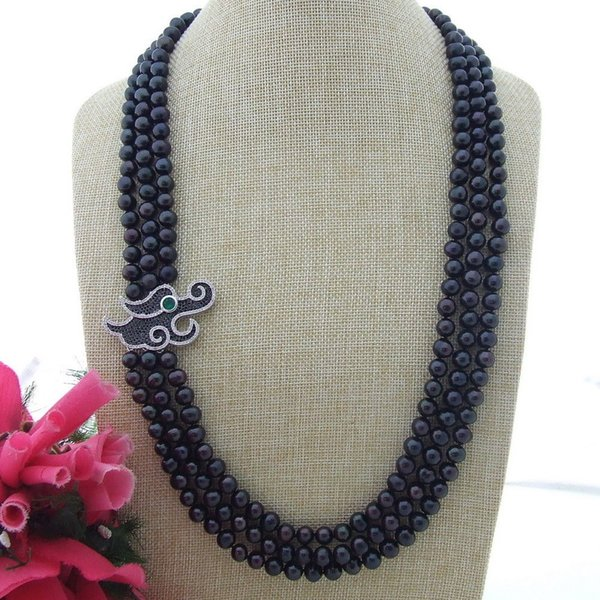 N111506 28'' 3 Strands Black Round Pearl Necklace CZ Pendant