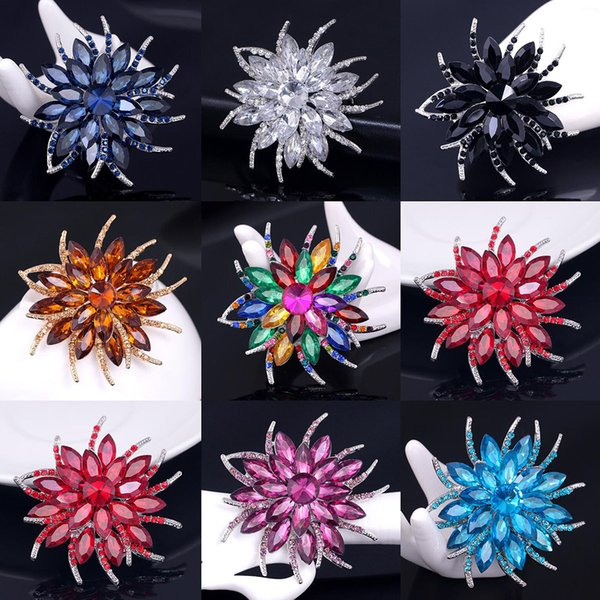 Elegant Women Flower Brooches Corsage Multicolor Crystal Rhinestone Brooch Pin Scarf Buckle For Wedding Party Jewelry Costume Accessories