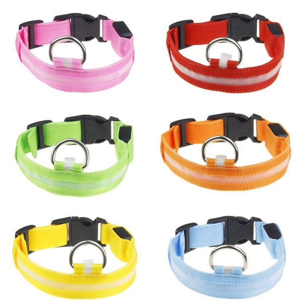 2.5cm Nylon LED Safety Flashing Flash Luminous New Adjustable Dog Puppy Pet Cat Collar Necklace Collars High Quality FAST SHIP