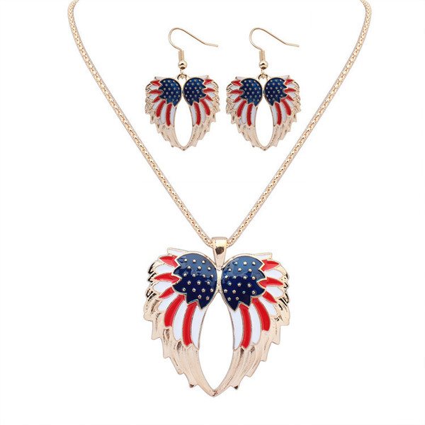 USA Enamel Angel Wing Jewelry Sets For Girls Gift Gold Plated Flag Angel Wings Necklace Earring Set Vintage Ethnic Jewelry