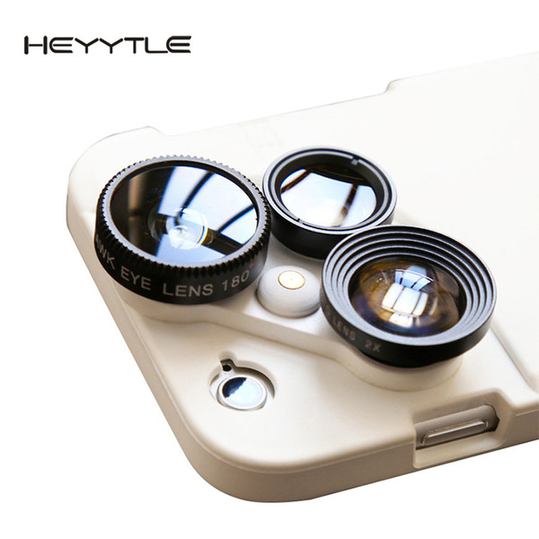 wholesale 4 in 1 Mobile Phone Lensese Case Full Cover For iPhone X 8 7 6S 6 Plus Wide Angle Macro Fisheye Phone Lenses White Case