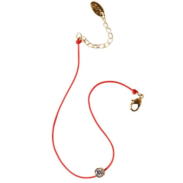 Wholesale-New Fashion Red String Hand Rope Simple One Crystal 2 Colos Rose Gold Plated Fashion Jewelry New Arrival Bracelets for Lovers