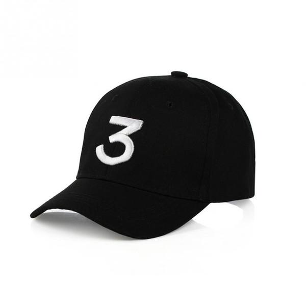 Populäre Sänger-Chance die Rapper-3 Möglichkeits-Kappe schwarze Buchstabe-Stickerei-3D Baseballmütze Hip Hop Streetwear-Hysteresen-Hüte