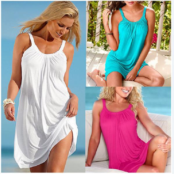 top popular Summer Loose Dress 2019 New Women Casual Beach Dress Sexy Sling Party Dress Mini Womens Clothes Hot Sale Plus Size S-XL Vestido 2020