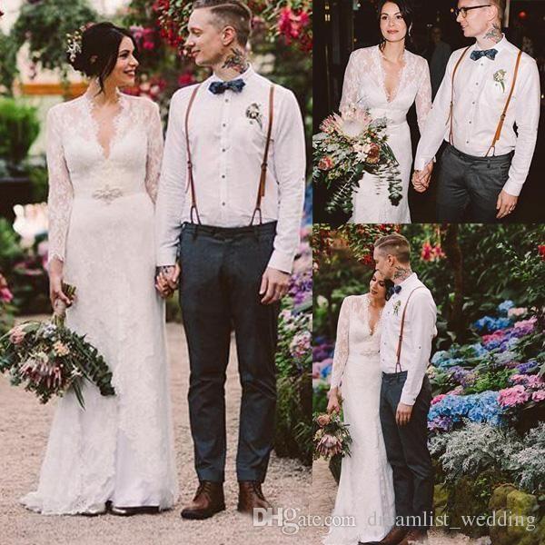 Plus Size Lace Wedding Dresses 2018 Sexy Mermaid Long Sleeves Applique V-Neck Country Beach Boho Cheap Wedding Bridal Gown robe de mariée