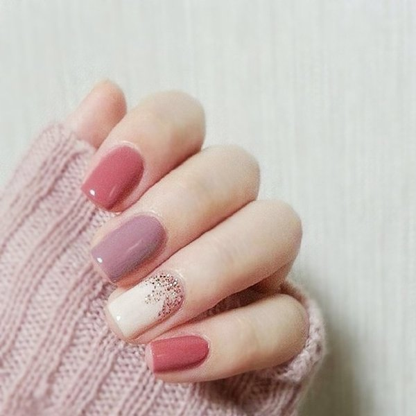 Taro French Pink Purple Acrylic Fake Nails 7 Style Short Full Cover Bean Pink French 3d False Nails Light Purple Art Tips Nails Gel Acrylic Nail From