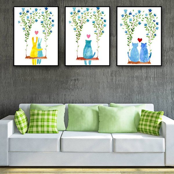 HD Prints Nordic Style Watercolor Cartoon Cat Flowers Love Posters Picture Wall Art Canvas Painting Abstract Wedding Decoration