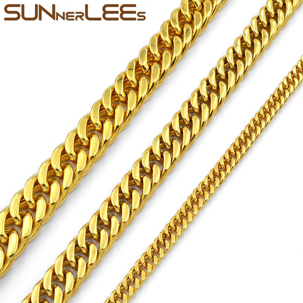 Fashion Jewelry 5mm 7mm 9mm 11mm Gold Color Stainless Steel Necklace Double Curb Cuban Link Chain For Mens Womens SC19 N
