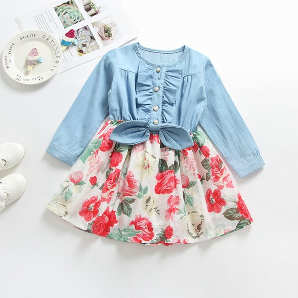 Boutique cotton baby girl's rose Pleated dresses bow floral printed long sleeves Lotus leaf Denim Stitching Princess skirt H139