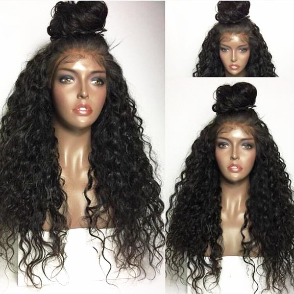 Hot Selling 180% Density Black Long Kinky Curly Wig Glueless Heat Resistant Synthetic Lace Front Wigs With Baby Hair African American Wigs