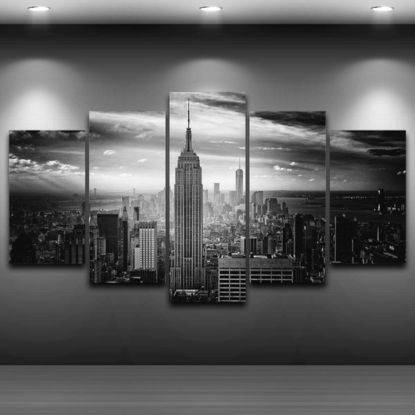 5 Pcs/Set Empire State Building spray oil painting decoration home artistic drawing decor on canvas framed printed wall art picture