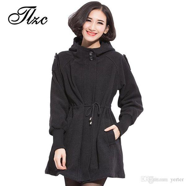 Wholesale-TLZC British Fashion Women Winter Wool & Blends Jackets Large Size L-3XL Slim Fitting Hooded Design 2017 Lady Black Warm Coats
