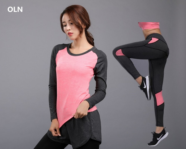 OLN Femmes Yoga Set Fitness Slim Fit Rose Full Shirt + Pantalon Yoga vêtements Running Tight Workout Leggings Sport Costume