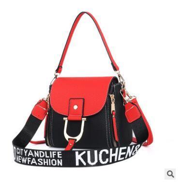 Bolsos de hombro de cuero de la PU de la vendimia de las mujeres de moda brillante Metal Fitting bolso estilo casual bolsos de las señoras Fit LJJG8