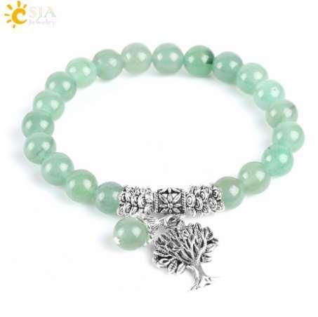 CSJA New Meditation Green Aventurine Women Bracelets Natural Stone Yoga Mala Prayer Rosary Beads Healing Reiki Tree of Life E748
