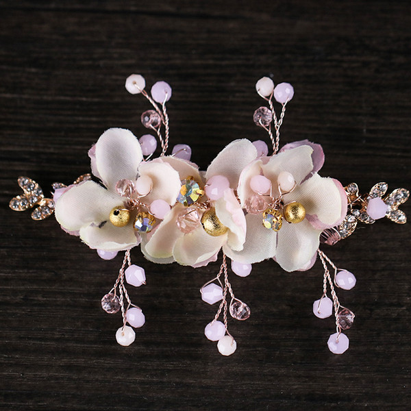 Bride's crown hairpin flower with pearl bride's hair manufacturer wholesale 2018 new wedding jewelry headgea
