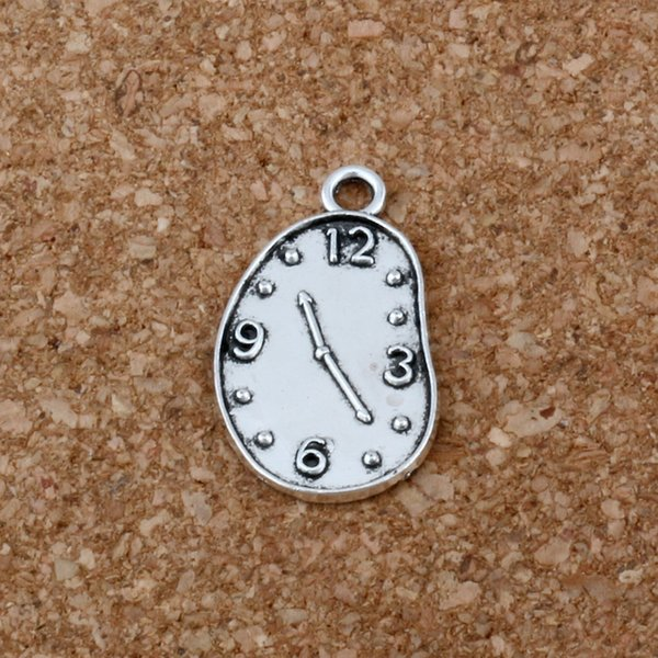 Melting Clock charm Pendant 200Pcs/lot Hot sell Antique Silver alloy Jewelry DIY 13* 22mm A-203