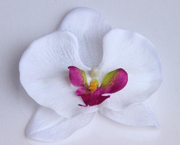11 см Большая Ткань Синий Фаленопсис Орхидеи Головы Искусственный Шелк Бабочка Орхидеи Композиции Цветочные Головы Венок Home Decor Цветок