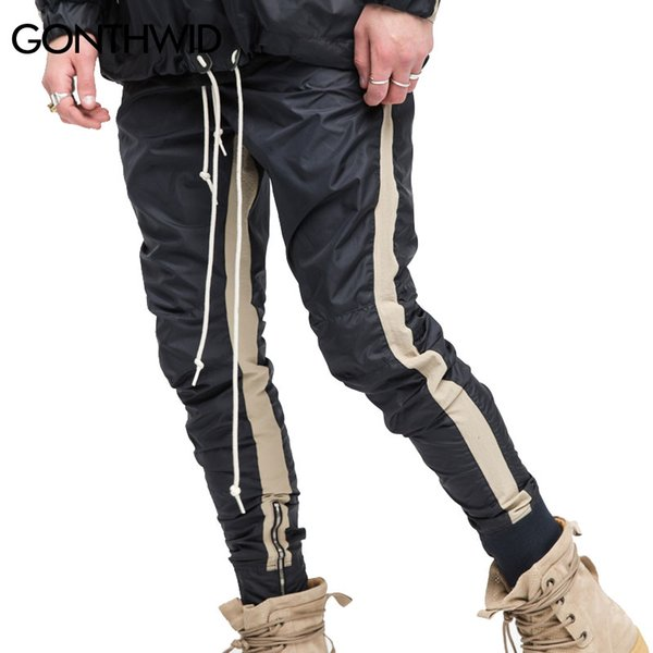 GONTHWID Zipped Ankle Track Pants Mens 2017 Fashion Urban Jumpsuit Joggers Trousers Male Hip Hop Stripe Sweatpants High Quality