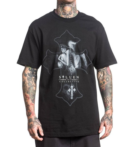 Sullen Men's Angel Dream T Shirt Black Hip Hop Skull Clothing Apparel Tops Shirt Cotton Hight Quality Man T Shirt