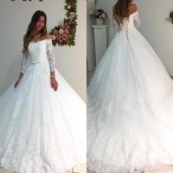 JaneVini 2018 Gothic Lace Wedding Dresses Sheer Long Sleeve Boho Off Shoulder Princess Bridal Gowns Court Train A-Line Bride Wedding Gown