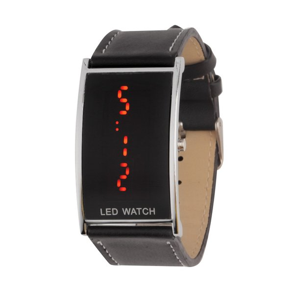 Black LED Watch For Men Women Sports Casual Leather Strap Wristwatches Slim Digital Display Watches Relogio Wholesale