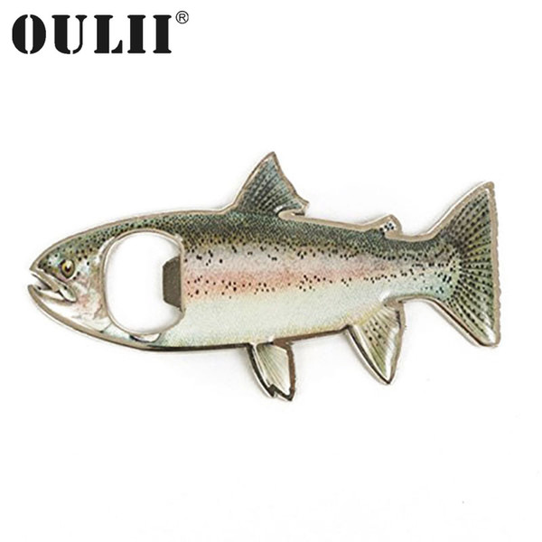 OULII Rainbow Stainless Steel Trout Fish Bottle Opener Fridge Magnet