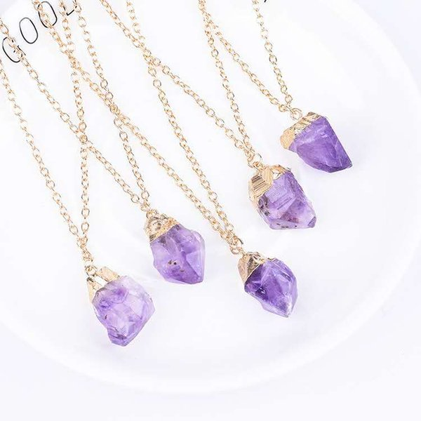 Natural amethyst necklace explosion models copper edging gold-plated original stone crystal cluster amethyst teeth Europe and the United Sta