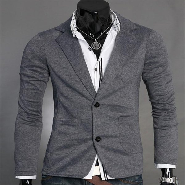 Traje de punto de primavera y otoño de los nuevos hombres Chaqueta de una sola capa Moda coreana Delgada Personalidad Simple Traje de color sólido de dos hebillas