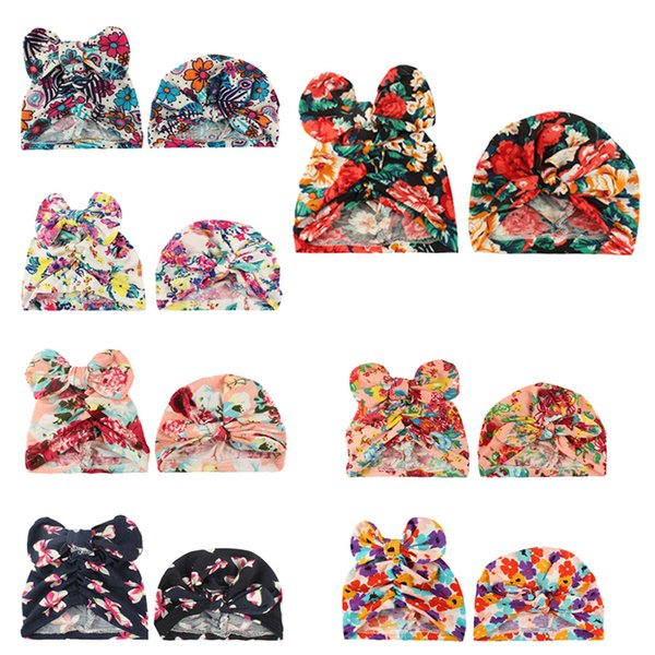 2pcKid Baby Stretch Hat Indian Head Scarf Hijab Headband Bonnet Turban Inner Cap Flower Printed Colorful Bow And Rabbit Ear