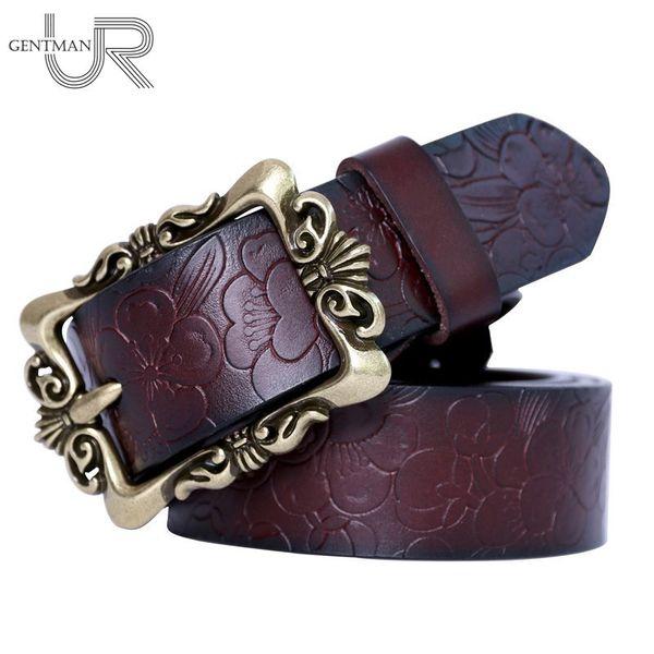 Fashion Wide Women Genuine Leather Belt Vintage Floral Luxury Belts For Women Top Quality Casual Jeans Strap Belt S18101806