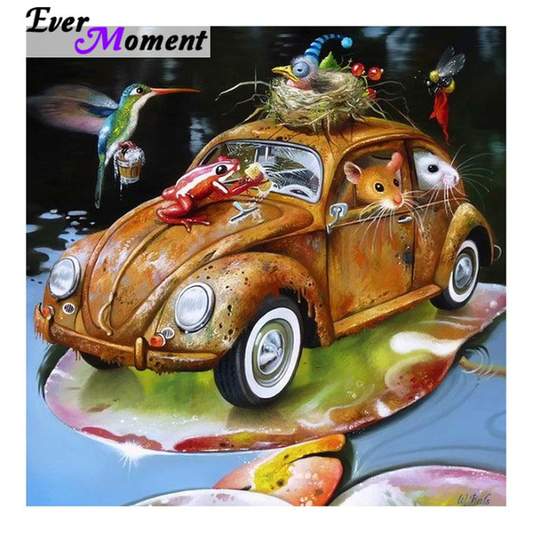 wholesale Diamond Painting Cross Stitch Car Cleaning Factory Frog Mouse Bird Cartoon Full Squrae Resin Drills Kids Fun ASF996