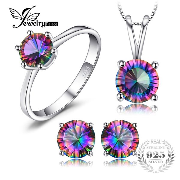 Classic Round Genuine Rainbow Fire Mystic Topaz Pendant Ring Earring For Women Wedding Gift Set 925 Sterling SilverY1882503