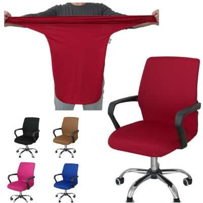 Smooth Polyester Office Chair Cover Elastic Computer Housse De Chaise Washable Removable Rotating Black Red Blue Free Shipping