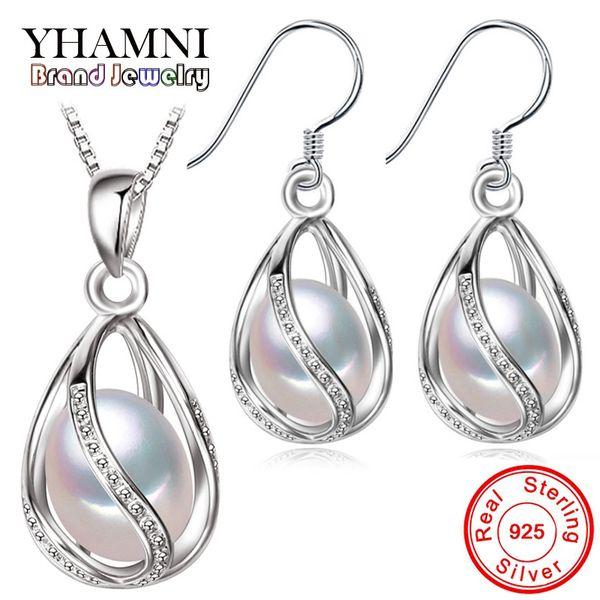 YHAMNI натуральный жемчуг ювелирные наборы стерлингового серебра 925 капли воды серьги ожерелье наборы для женщин свадебные украшения TZ0110