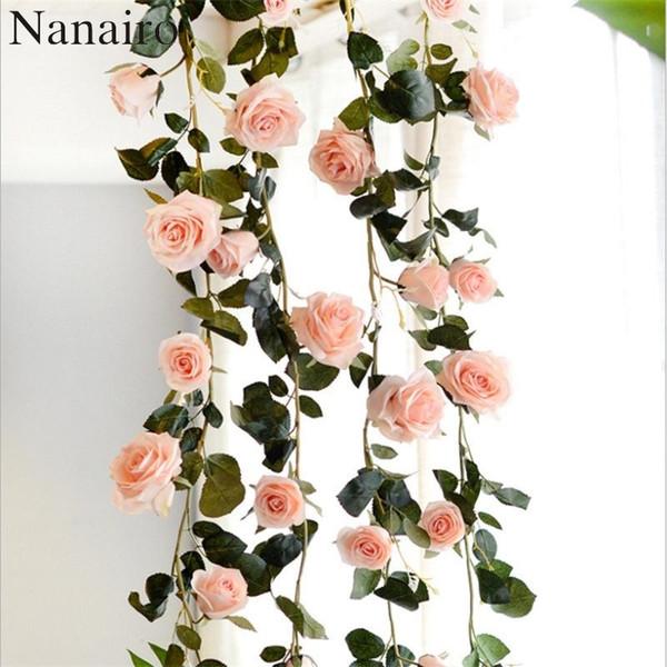 Gros-180 cm Haute Qualité Faux Soie Roses Lierre Vigne Artificielle Fleurs Avec Des Feuilles Vertes Pour La Maison Décoration De Mariage Suspendu Guirlande