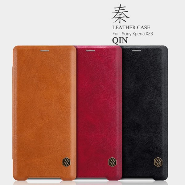 10pcs/lot Wholesale NILLKIN Qin Leather Case For Sony Xperia XZ3 Vintage Wallet Flip Leather Cover Phone Case