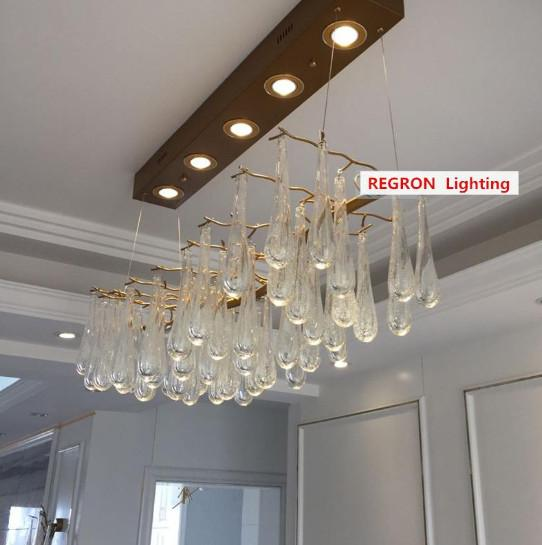 Regron Japaness Style Post Modern Country Vintage Art Deco Wood Crystal Chandelier Light Lustrous Chandeliers Luminaries Restaurant Cafe