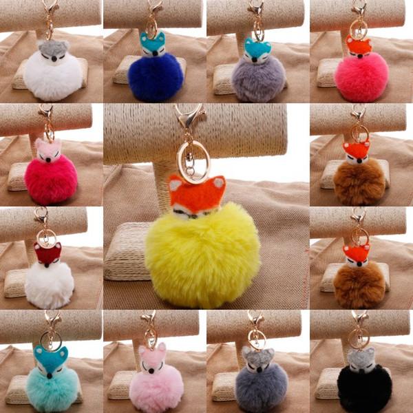 Top Quality 13 Colors Cute Fox Head Real Rabbit Fur Ball Keychains Fluffy Key Chains Car Key Rings For Women Bag Charm Pendant Keyfob G253Q