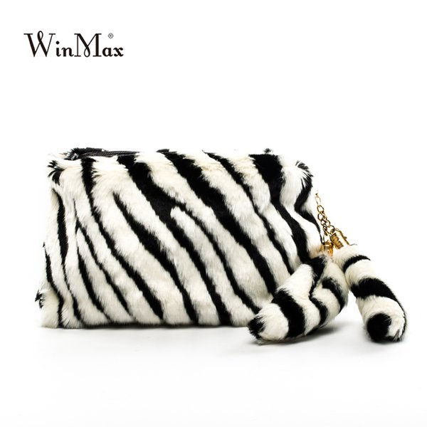 Winmax 2017 Winter new faux fur Day Clutch Famous Designer women leather hand bag fashion plush hair warm evening party clutch