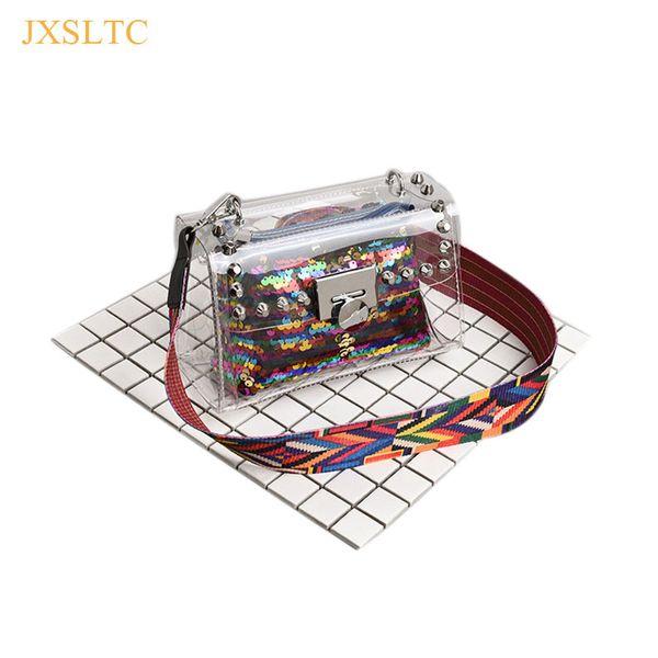 New Fashion Women Clear Transparent Shoulder Bag Jelly Candy Summer Beach Sequin Hand bag woman Messenger Bags Bolsa Feminina